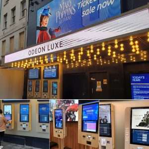Odeon Luxe's Fast Ticket Machines in Leicester Square, supplied by 10 Squared