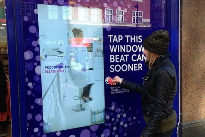 Cancer Research UK's contactless payment machine