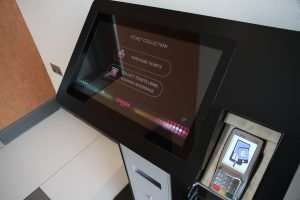 Self-service, touch screen, ticketing kiosk